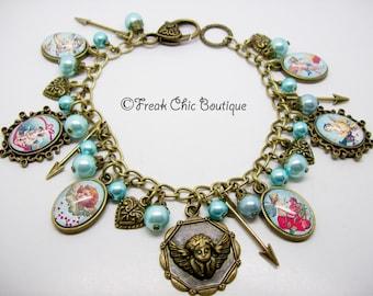 Cupid Charm Bracelet, Valentines, Angels, Love Token, Cupid Bracelet, Cherub Jewelry, Unique Gift, Gift For Her