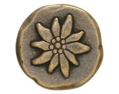 2 Mountain Flower 15/16 inch ( 24 mm ) Dill Metal Buttons Antique Brass Color