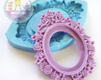 Large Rose Cameo Setting Setting Area 40x30mm Bakery Flexible Mold 188L* BEST QUALITY