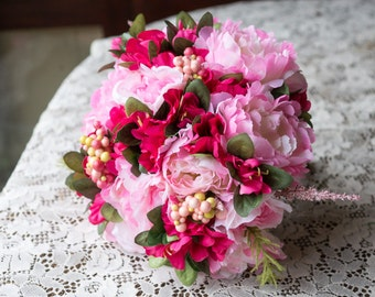 Hot pink and Light Pink Garden Peony Bouquet