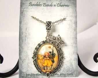 Flower Fairy Faerie-2 Pendant Necklace Jewelry, Fairy Faerie Art Necklace Jewelry, Fairy Photo Charm Necklace, Faerie Picture Charm Necklace