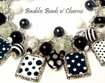 Polka Dots and Stripes in Black and White Charm Bracelet Beaded Altered Art Picture Charms Beads Collage Bracelet Silver Plated