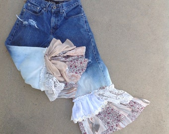 Ombre denim ruffled bloomers