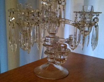 Cambridge Arms 7 piece w prisms Crystal Candelabra by Cambridge Glass Designs for Elegant Dining Line. Adjustable vintage  style tablescape.