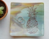 Pineapple 5x5 Square Glass Fused Dish in green/brown swirl glass