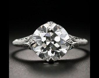 Ladies, 2.53 Ct, Round, Cut, Antique,Natural, Diamond, Engagement, Ring, 14K, White, Gold