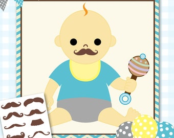 Pin the Mustache Baby Shower Game, Mustache Baby Shower Games, Mustache Shower Game, Little Man Baby Shower, Boy Baby Shower - #000