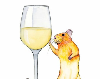 White Wine Art Print Watercolor Art Print Rat Lover Gift Wine Lover Gift Wine Wall Art Home Bar Decor Whimsical Animal Art Kitchen Art Print