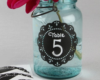 DIY Wedding Chalkboard Doily Stickers Ideal for Making Your Own Table Numbers and Wedding Signs Set of 20