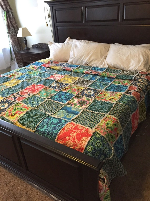 Queen Size Quilt Ready to ship rag quilt yellow by RedEyedStudio
