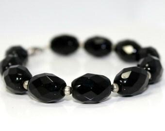 Onyx Faceted Glass Bead Bracelet