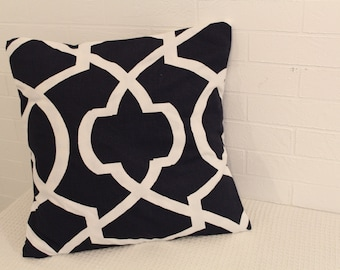 "17x17"" Navy and White Lattice Pillow Cover"