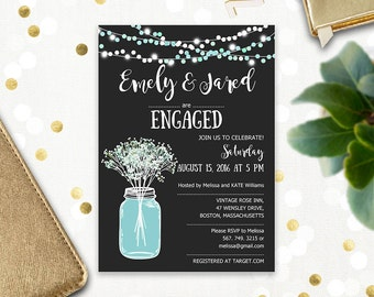Engagement Invitation Printable Mason Jar & Baby's Breath Rustic Engaged party invitation template, Black Chalkboard Engagement party invite