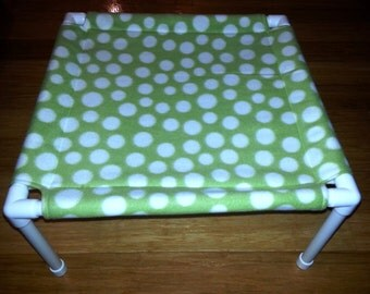 The Pet Hammock - Fleece Fabric - Green Polka Dot pattern