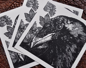Illustrated Print 'Raven's Eye' on 300gsm Conqueror Paper