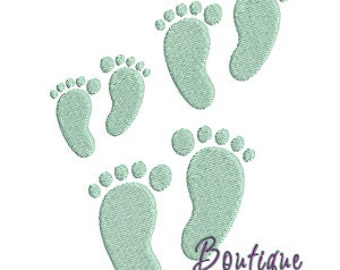 Mini Footprints Embroidery Design Set - Instant Download
