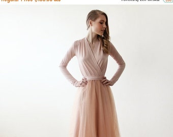 Pink tulle midi dress with long sleeves , Pink bridesmaids midi tulle dress