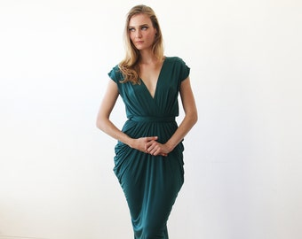 Emerald green knee length bridesmaids dress, Short bridesmaids green dress 1007