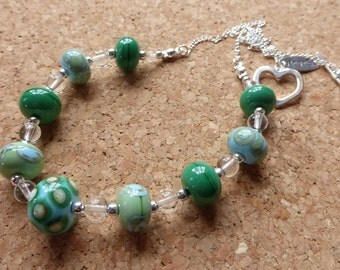 sky blue and green lampwork spotty swirly bead necklace