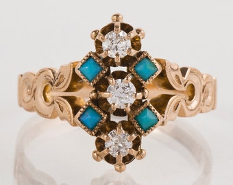 Antique Ring - Antique Victorian 14k Rose Gold Turquoise & Diamond Ring
