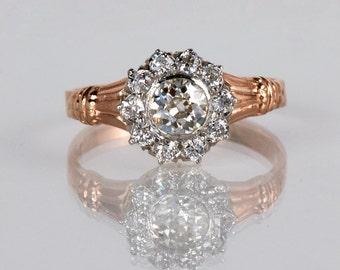 Antique Engagement Ring - Antique 1900s Platinum and 14K Rose Gold Flower Cluster Engagement Ring