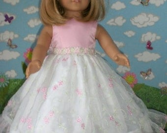 Pink and White Embroidered  Organza Princess  Dress for 18 inch Dolls