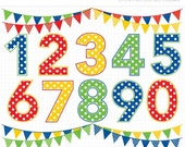 ON SALE - Primary Colored Polka Dot Numbers / Boy or Girl Birthday Numbers Clip Art / Digital Clipart - Instant Download