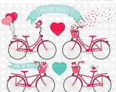 ON SALE - Valentine Bicycles / Valentines Day Clip Art / Digital Clipart - Instant Download