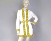 Mr DINO Vintage 1960s Mod Grecian Key Signed Belted Micro Mini Dress