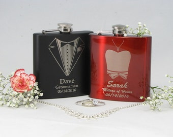 Personalized Groomsmen Gift AND Bridesmaid Gifts, Engraved Groomsmen Flasks, Bachelor & Bacholrette Party gifts, 2 Stainless Steel Flasks