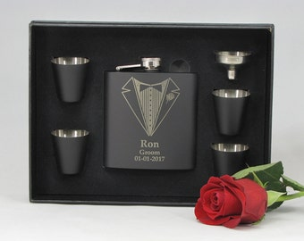2, Personalized Groomsmen Gifts, Engraved Flask Sets, Stainless Steel Flasks, Personalized Best Man Gift, 2 Flask Sets