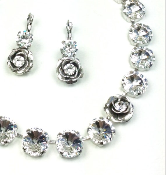 Swarovski Crystal Necklace - All 12MM Radiant Crystals - One Perfect Rose - A Stunning, Classy Bridal Necklace - FREE SHIPPING