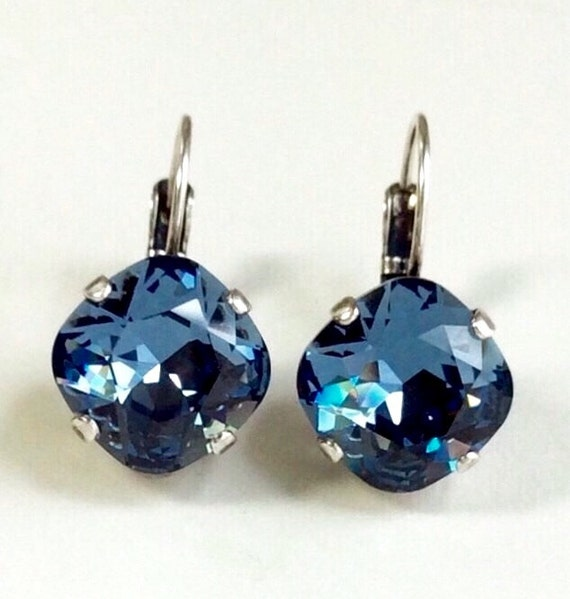 Swarovski Crystal 12MM Cushion Cut, Lever- Back Drop Earrings - Designer Inspired - Denim Blue - On SALE - FREE SHIPPING