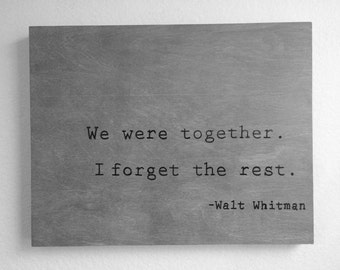 Rustic Wood Walt Whitman Quote Sign