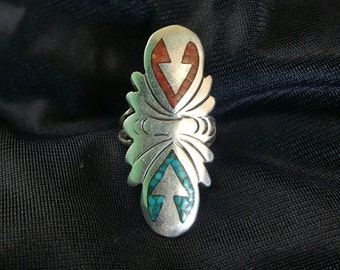 Vintage 60s 70s Silver Turquoise Coral inlay Navajo Native American Arrow ring signed by John G. Begay JB Hallmark Stone Band Ring