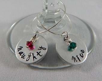Naughty or Nice Hand Stamped Christmas Wine Charms - Set of 2 - Holiday Wine Charms - Hostess Gift - Party Favors - kg1225