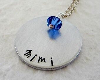 Mimi - Custom Hand Stamped Necklace with Swarovski Birthstones - Grandmother Jewelry - Mother's Day Gift - kg315