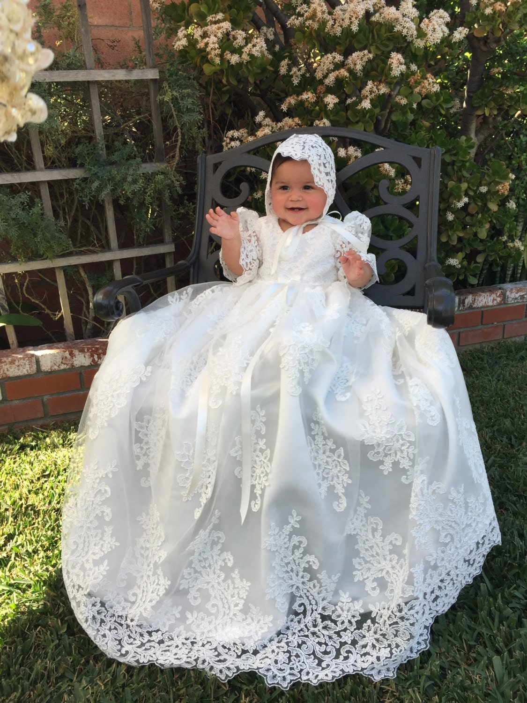 Stunning Alencon Lace Christening Gown Baptism Dress Girls