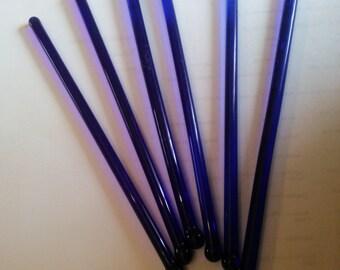 Vintage Cobalt Blue Drink Mixers - Set of Seven - 7 Vintage Glass Drink Mixers - Drink Sticks - Swizzle Sticks