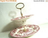 Sale 50 % Off Vintage 2 TIERED CAKE STAND, English Ceramic Cake Tray, Cream Colored, with Pink Transfer Ware Asiatic Pheasants. Stamped Enoc