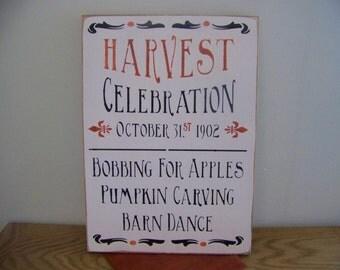 Primitive Harvest Celebration Sign Whimsical Halloween Decor