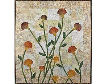 Quilted Wall Hanging, Fiber Art Quilt, Thread Art Flowers