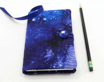 Pocket Journal Cover, Quilted Pocket Notebook 3.5 x 5.5 inch, Small Book Cover, Galaxy Writing Journal, Blue Star Diary