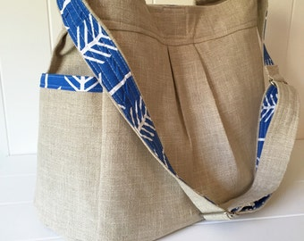 Linen and Blue Arrow Girl or Boy Diaper Bag