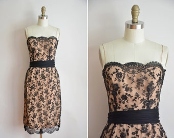 50s Tea Room dress / vintage 1950s lace wiggle dress/ black and cream party dress