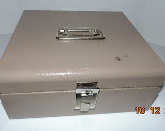 Vintage Buddy products Metal industrial Storage File Lock Box crafts cash box made in the USA
