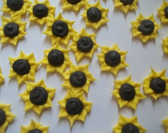 Royal icing small sunflowers -- Edible cake decorations cupcake toppers (24 pieces)