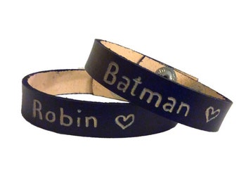 Matching Bracelets For Couples, Personalized Leather Bracelet, Engraved Couples Bracelet, Batman And Robin