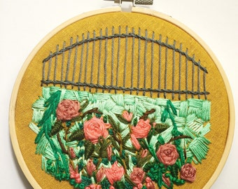 Rose Bush Embroidery, Rustic Iron Fence Embroidery Hoop Art, Fiber Art, Mustard Yellow Home Decor, Living Room Gallery Wall Art