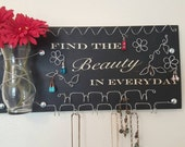 Jewelry Organizer Board and Earring Holder Inspirational Quote - Find the Beauty in Every Day - READY TO SHIP